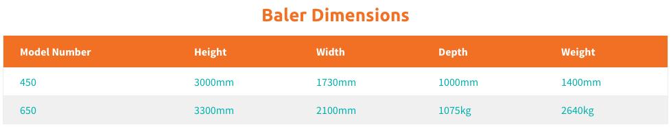EWS Baler Dimensions